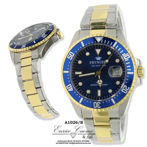 Orologio PRYNGEPS CR636 B acciaio e oro chrono da uomo