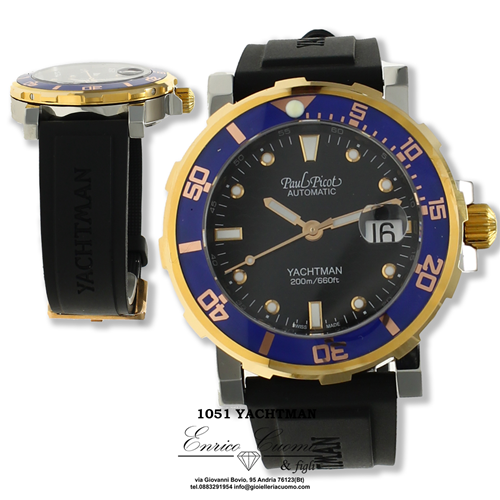 Orologio Paul Picot 1051 SGV YACHTMAN automatico, cinturino in lattice naturale