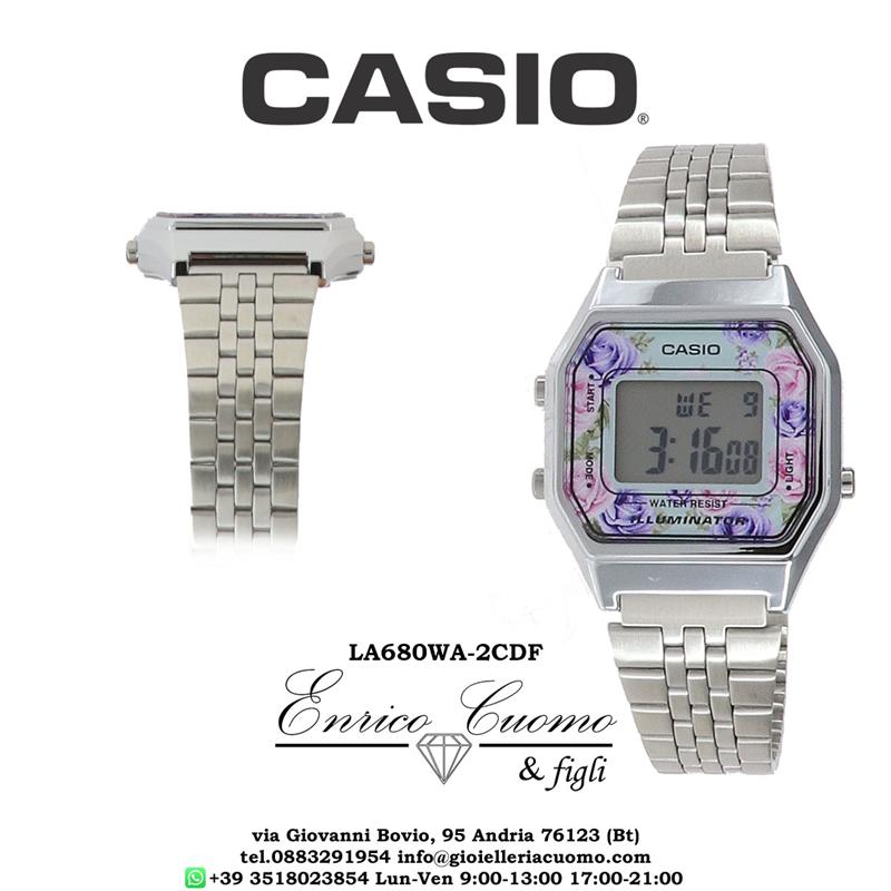 Dettagli su Orologio CASIO vintage iconic LA680WA 2CDF floreale da donna display digitale