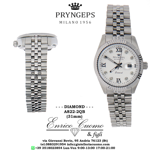 NEW Diamond watch for woman PRYNGEPS A822-2QB quadrante bianco con diamanti naturali jubilè strap